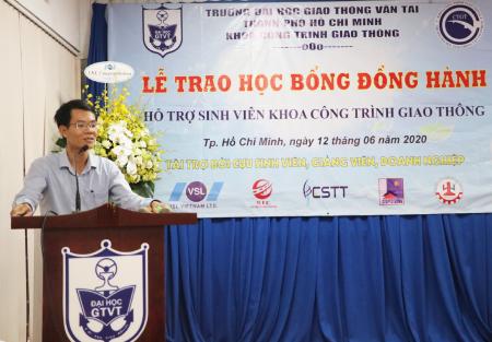 TS. Vũ Văn Nghi, Phó trưởng khoa phụ trách Khoa CTGT cảm ơn các doanh nghiệp